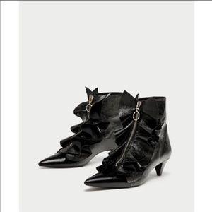 Zara Patent Leather Ruffle Ankle Boots Kitten Heel